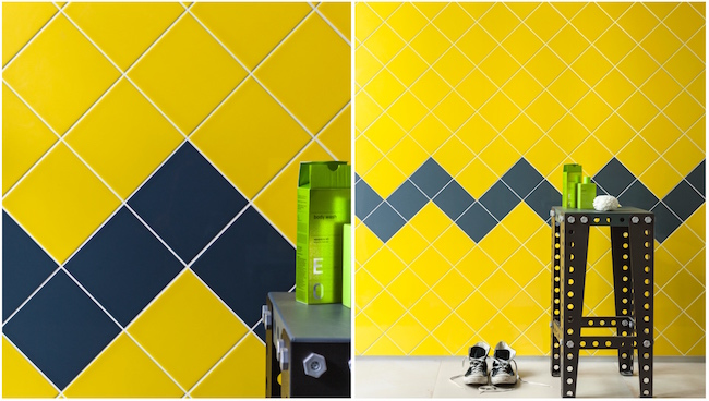 Yellow reflection tiles with zigzag pattern