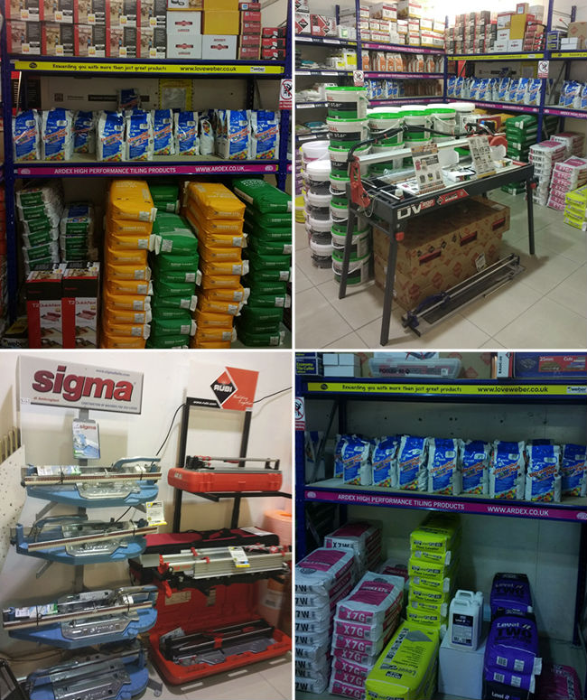 Trade Products including Sigma Mapei, Ardex and BAL