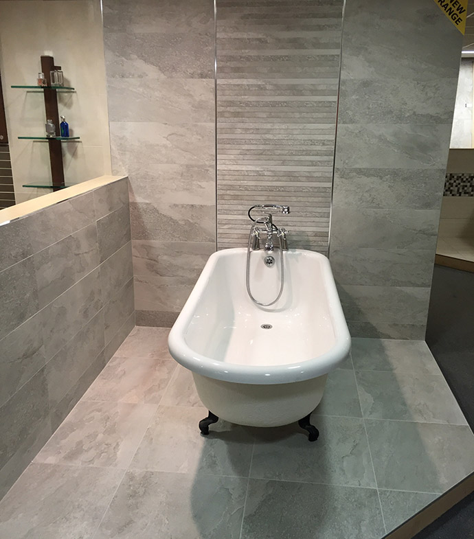 Lovely We Also Have A Large Range Of Wood Effect Tiles On Display In Our Large  Upstairs Showroom Along With Display Settings Of Bathrooms With A Wide  Range Of ...