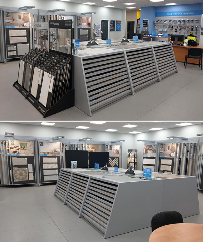 inside ctd Leicester tile showroom displays
