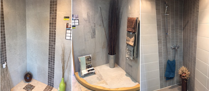 Room setting tile displays in CTD Peterborough showroom.