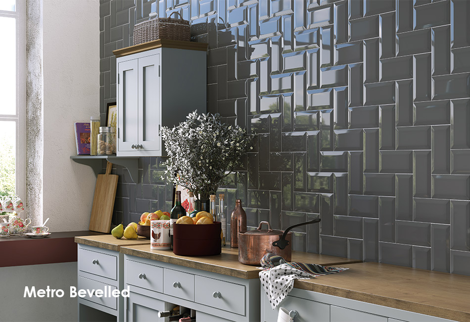 Picture of Metro Bevelled dark grey gloss wall tiles in a kitchen