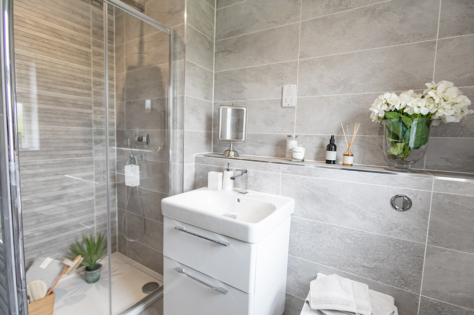 Nature tiles in en-suite of contemporary new home