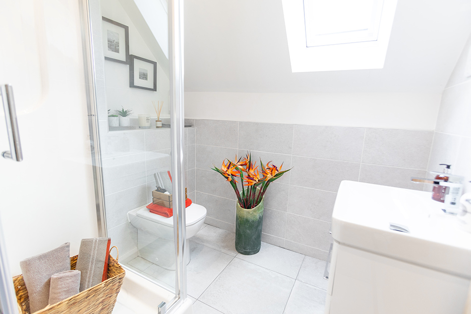 Polesden and Knole tiles in bathroom of contemporary new home