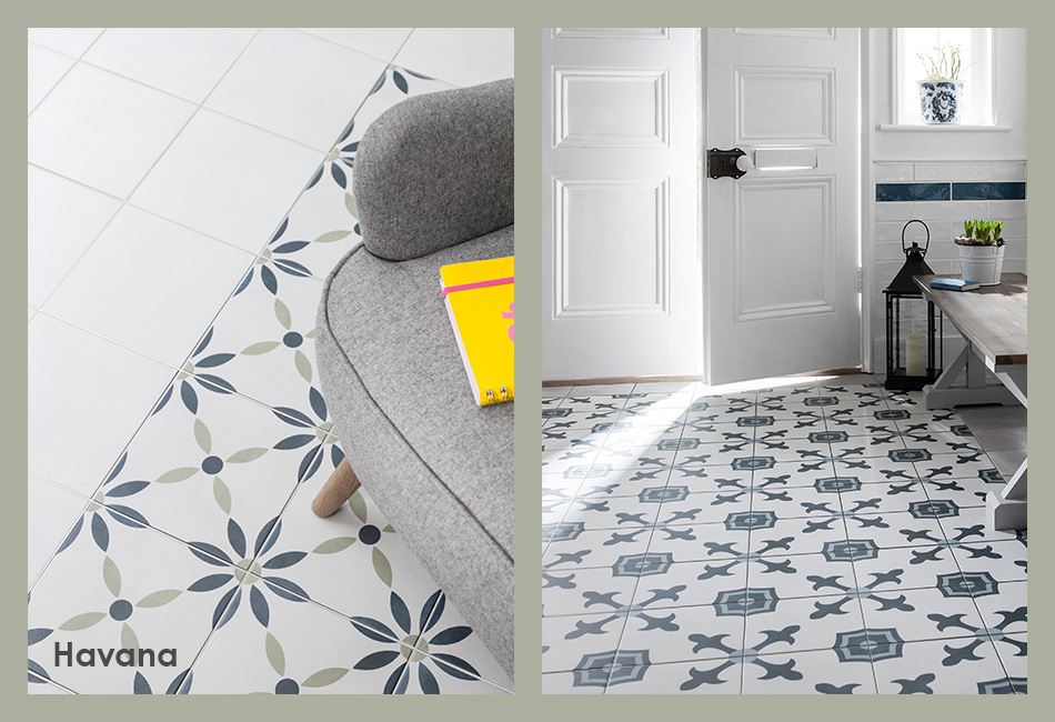Havana patterned floor tiles for house builders and developers