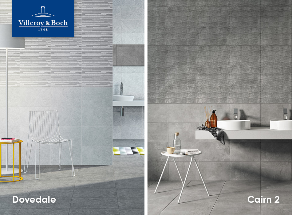 Dovedale and Cairn 2 tiles from Villeroy & Boch, part of the GEMINI Home Collection for housebuilders and developers