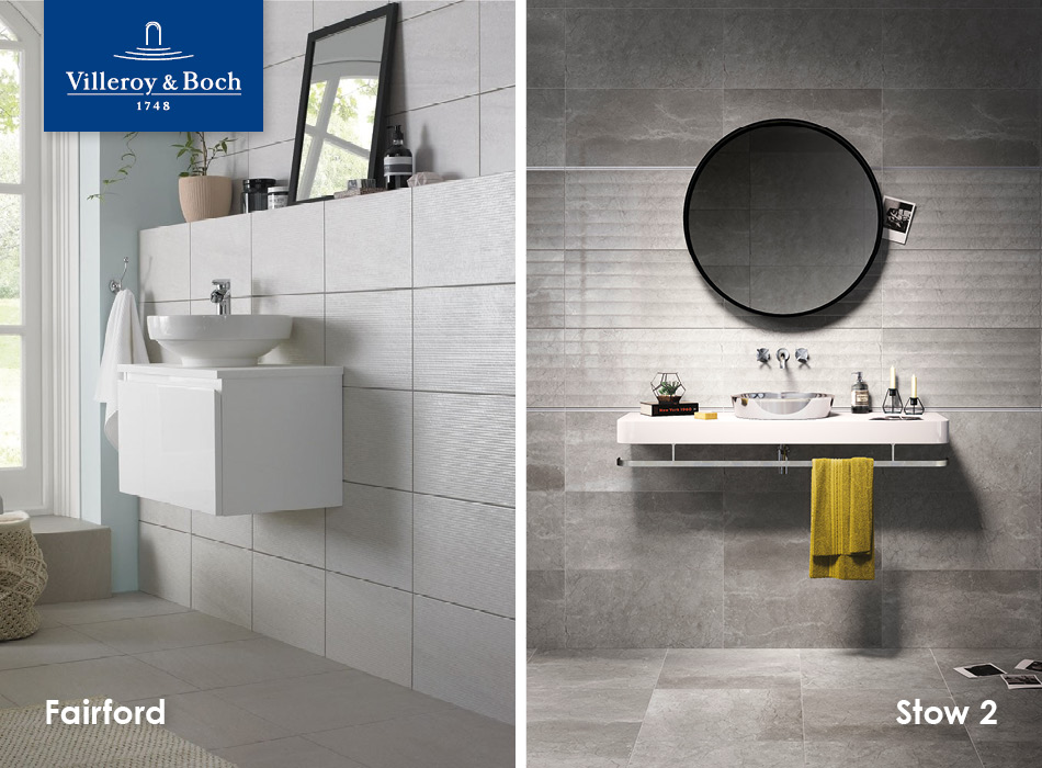 Fairford and Stow 2 tiles from Villeroy & Boch, part of the GEMINI Home Collection for housebuilders and developers