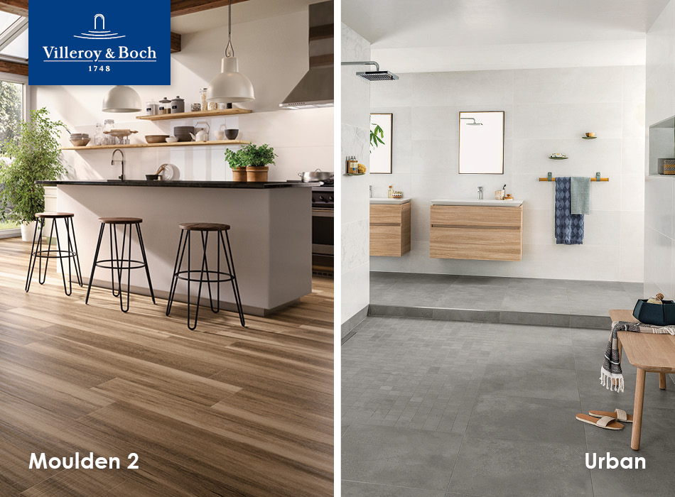 Moulden 2 and Urban tiles from Villeroy & Boch, part of the GEMINI Home Collection for housebuilders and developers