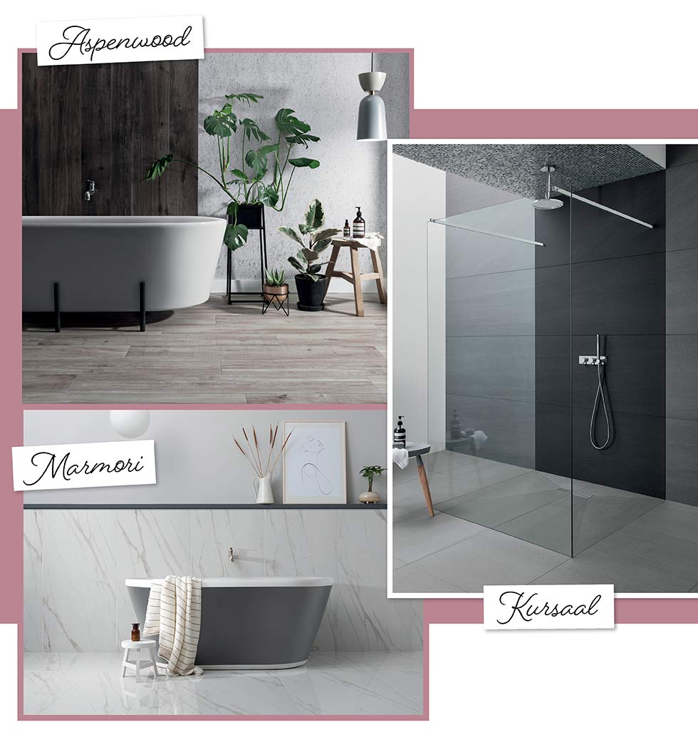 Aspenwood, Marmori and Kursaal bathroom tiles