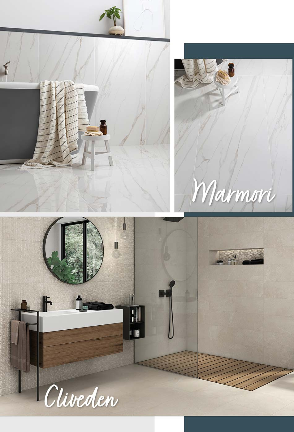 Marmori & Cliveden wall and floor tile collection