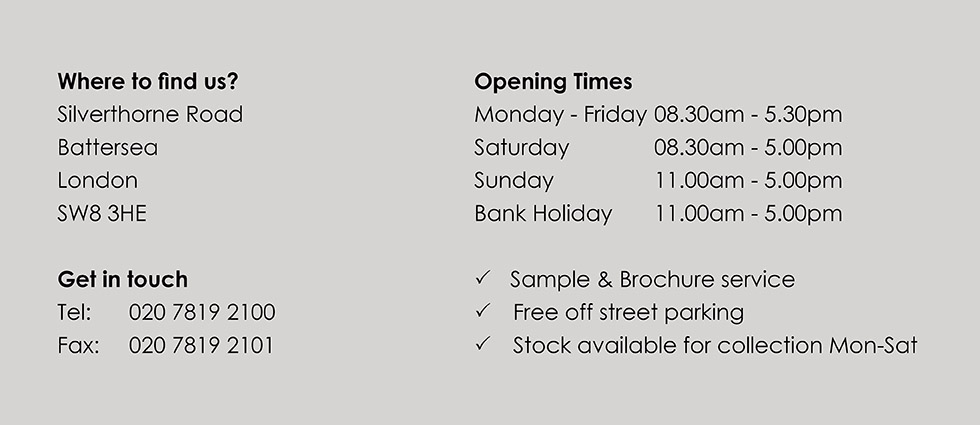 World's End Tiles Battersea store opening times - image