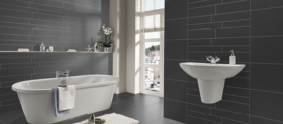 Pietra Pienza Black Bathroom Tiles by GEMINI from CTD Tiles