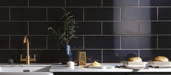 Reflections Black Kitchen Tiles by GEMINI from CTD Tiles