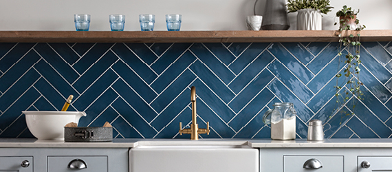 Poitiers Blue Kitchen Tiles by GEMINI from CTD Tiles