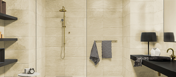Marbles Cream Bathroom Tiles by GEMINI from CTD Tiles