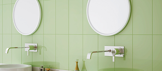 Reflections Green Bathroom Tiles by GEMINI from CTD Tiles