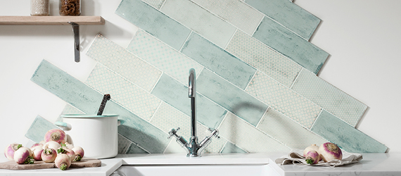 Arles Green Kitchen Tiles by GEMINI from CTD Tiles