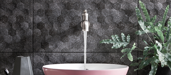 Buxy Hexagon Bathroom Tiles by GEMINI from CTD Tiles