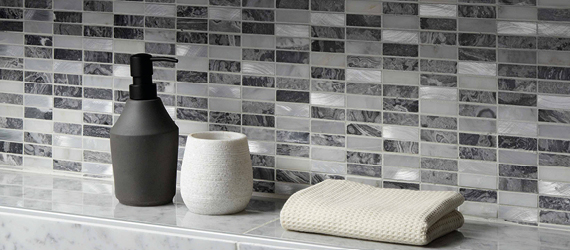 Creswell Grey Stone & Metal Mosaic Mixed Material (Glass, Metal etc.) Bathroom Tiles by GEMINI from CTD Tiles