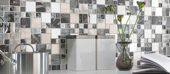 Saturn Silver Glass & Metal Modular Mosaic Mixed Material (Glass, Metal etc.) Kitchen Tiles by GEMINI from CTD Tiles