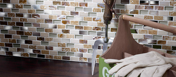 Cream Glass, Stone, Metal, Pearl Mix Mini Brick Mosaic Mixed Material (Glass, Metal etc.) Wall Tiles by GEMINI from CTD Tiles