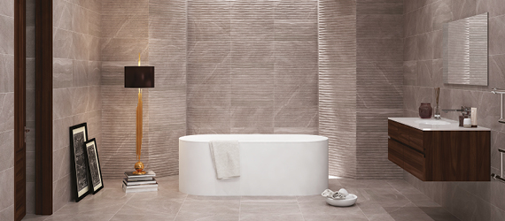British Stone Porcelain Bathroom Tiles by GEMINI from CTD Tiles