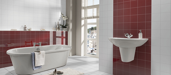 Reflections Red Bathroom Tiles by GEMINI from CTD Tiles