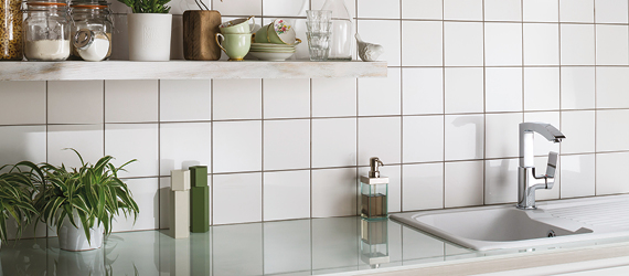 Reflections White Kitchen Tiles by GEMINI from CTD Tiles