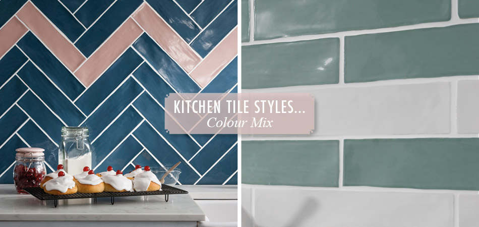 Mixed colour kitchen tiles from Gemini