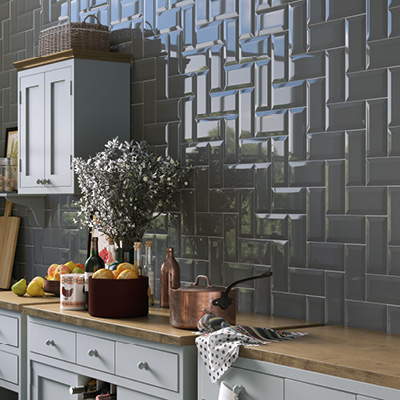 Picture of Metro Brick grey bevel wall tiles
