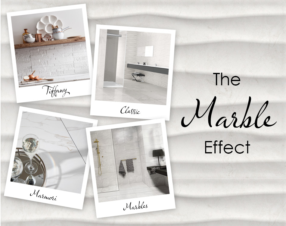 White Marble effect tiles by Gemini collage