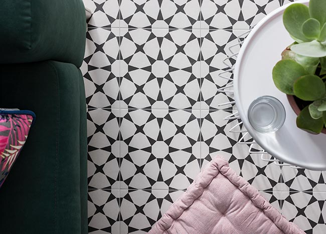 Cuban White Star Monochrome Patterned Tiles