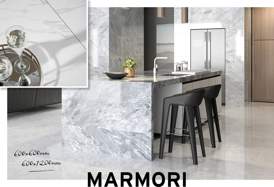 Collage picture of Marmori large format kitchen tiles