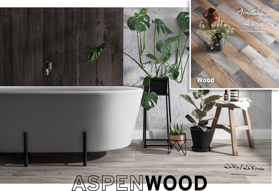 Collage picture of Aspenwood and Marmori large format bathroom tiles
