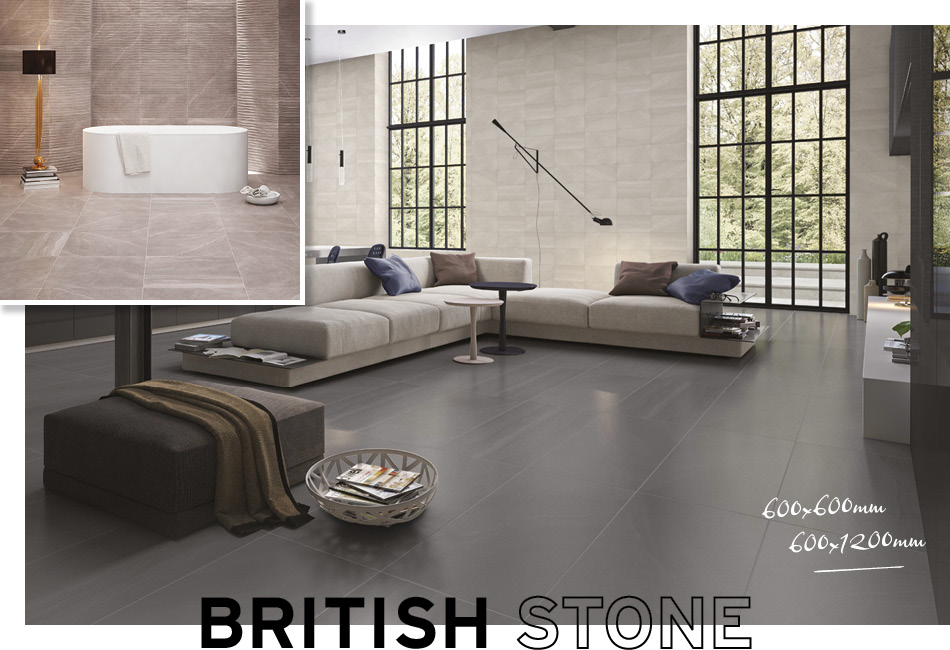 Collage picture of British Stone and Realstone Rain large format living area tiles