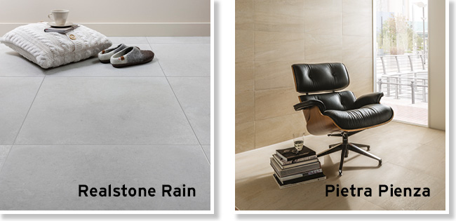 Collage picture of Realstone Rain and Pietra Pienza large format living area tiles