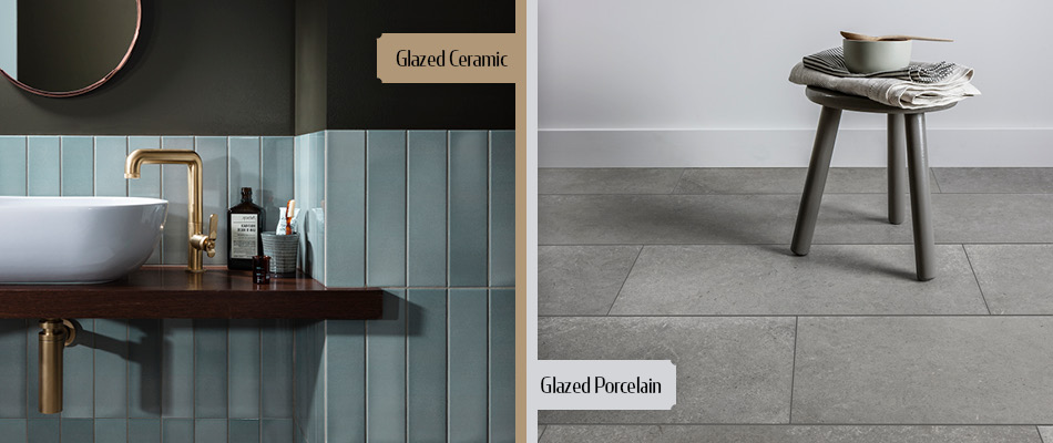 Collage of ceramic and porcelain tiles