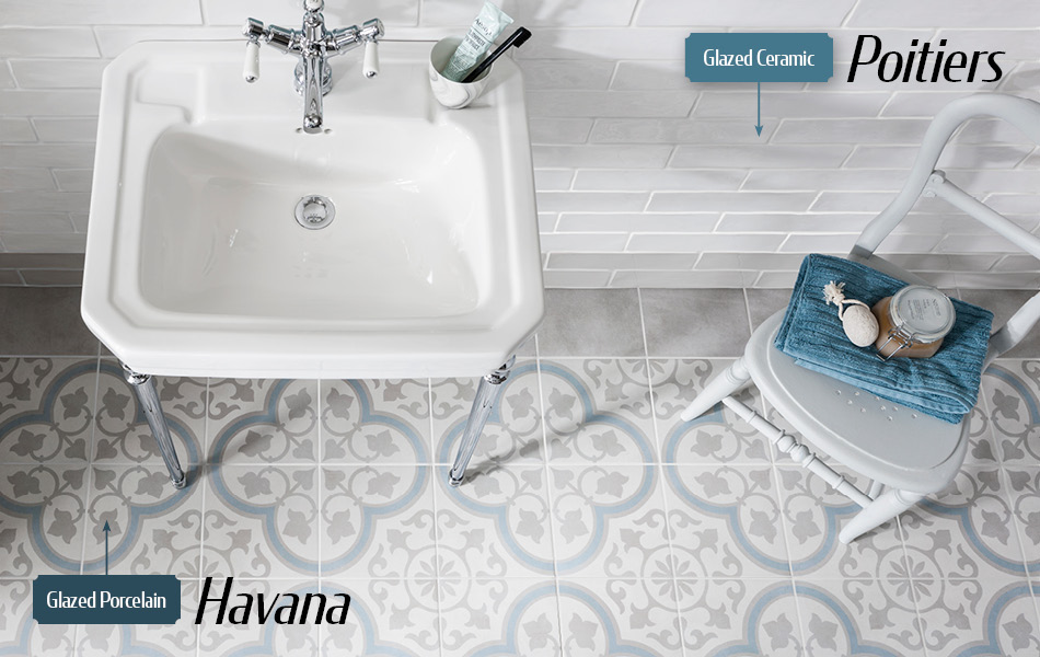 Havana glazed porcelain tiles and Poitiers glazed ceramic tiles from Gemini