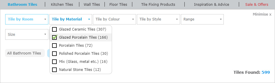 Screenshot of how to use website product filters.