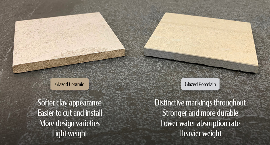 The difference between ceramic and porcelain tiles listed