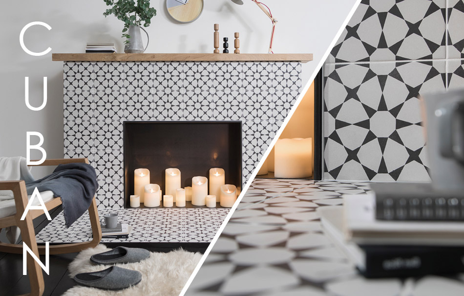 Image of Gemini Cuban White Star tiles on Fireplace surround
