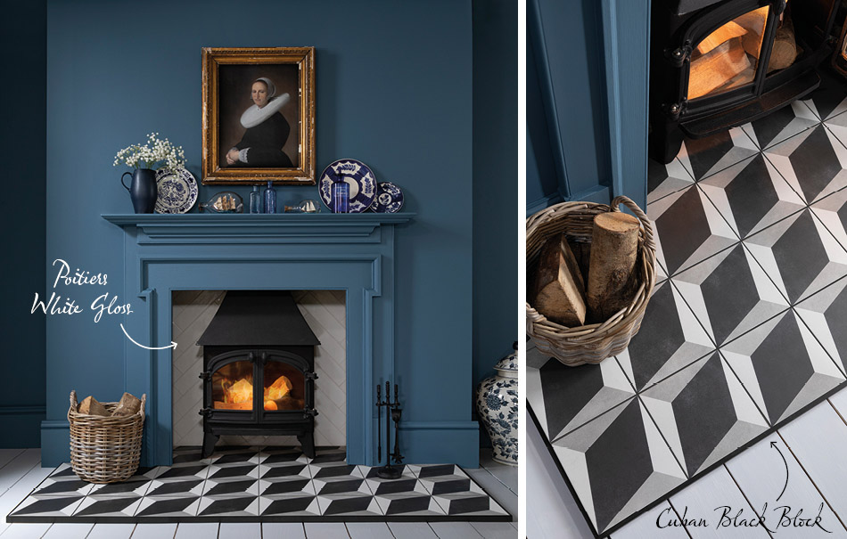 Collage of Gemini Cuban and Poitiers tiles on fireplace