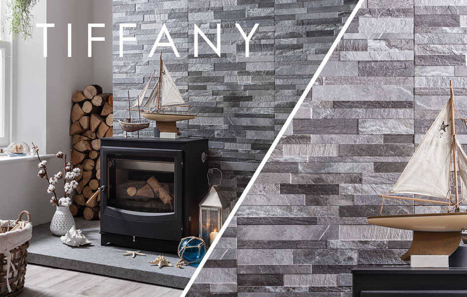 Image of Gemini Tiffany tiles on fireplace feature wall