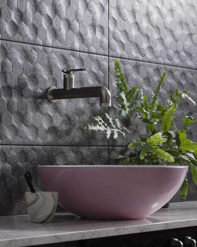 Buxy Anthracita Hexagon tile with sink