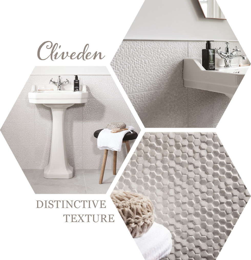 Collage of Cliveden Hexagon bathroom tiles from GEMINI