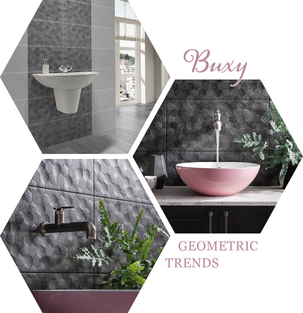 Collage of Buxy Hexagon bathroom tiles from GEMINI