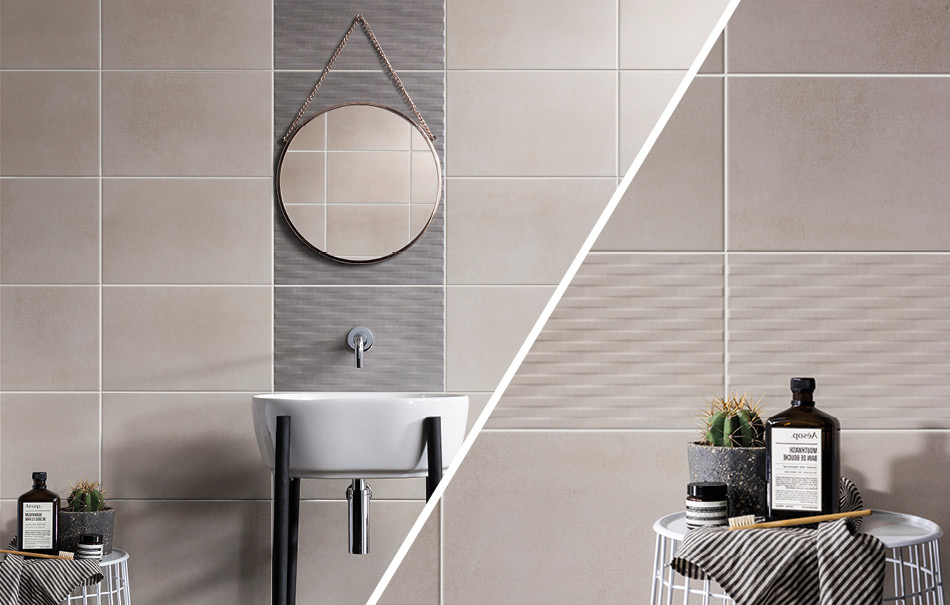 Grey textured Cement Tech Mini tiles feature wall in bathroom setting.