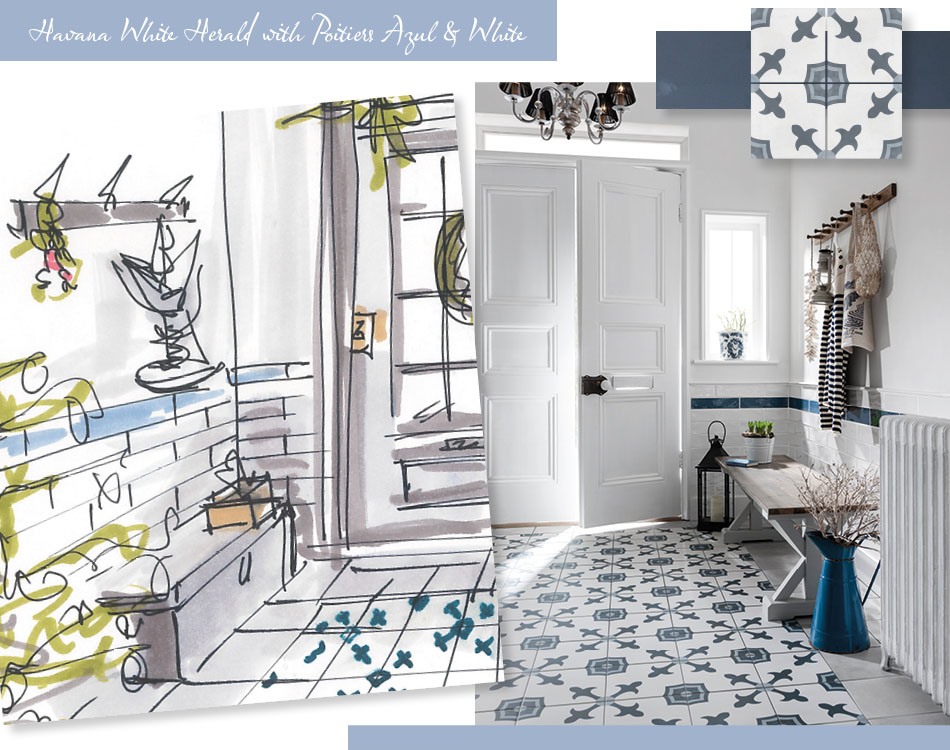 Collage image of Havana White Herald tile in traditional hallway