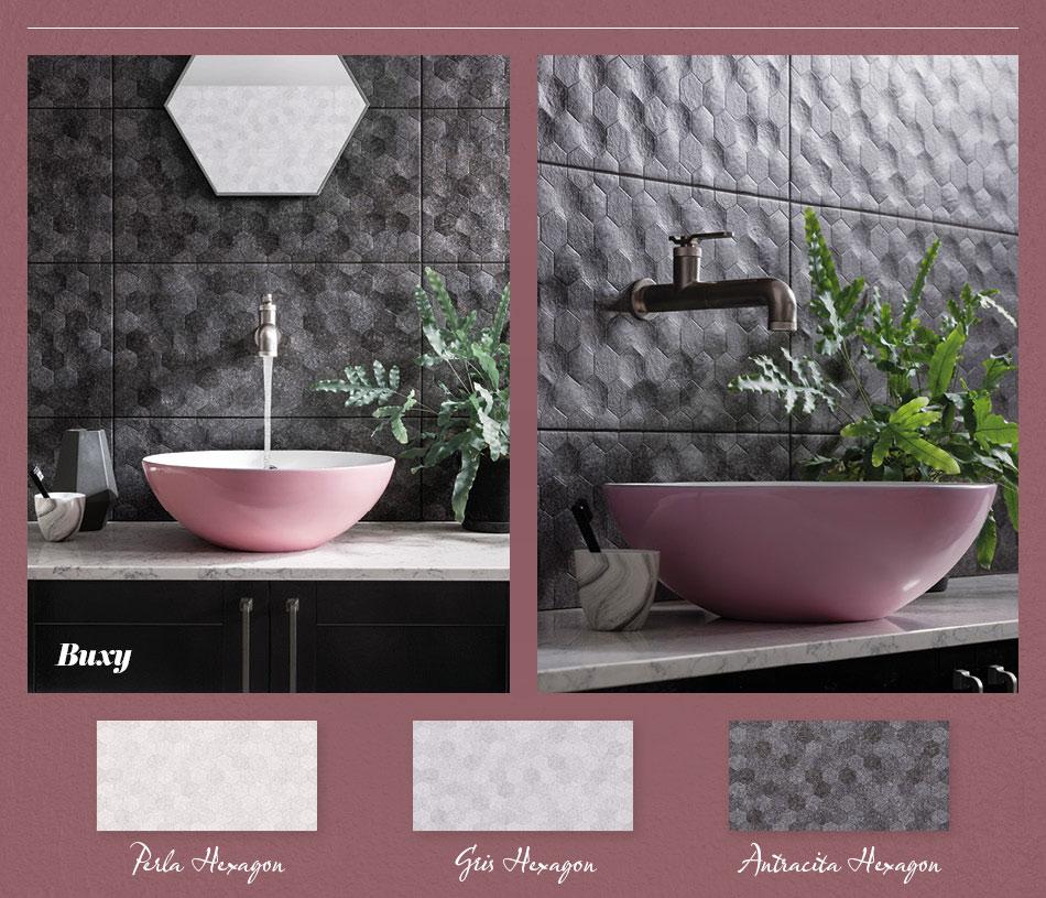 Collage picture of Buxy 3D patterned bathroom tiles