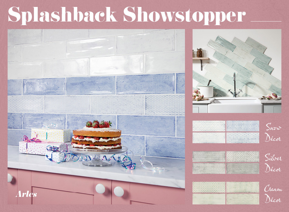 Collage picture of Arles patterned kitchen tiles